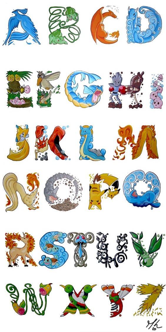 abecedario pokemon articuno bulbasaur